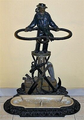 Alfred Corneau Charleville French Victorian Cast Iron Stick Stand Sailor C. 1880