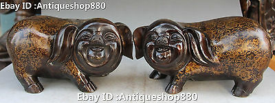 """10"""" Chinese Bronze Fengshui Cute Zodiac Year Pig Carving Animal Statue Pair"""