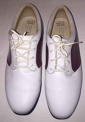 Women's Nike Air Comfort White Leather With Red Golf Shoes Size US 9 W.