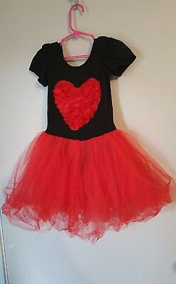 Size M  Girls  Dance Red & Black Heart  Outfit