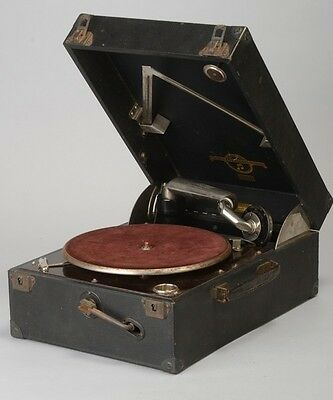 Colombia 1920s' Working Wind-Up Portable Gramophone Record Player SCK