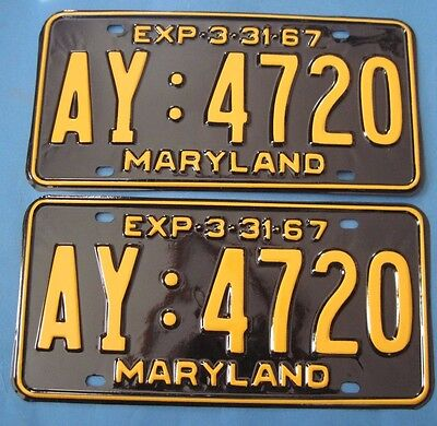 1967 Maryland License Plates professionally restored show car quality