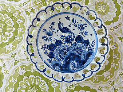 Blue Delfts Floral Bird Heart Laced Holland 6.25 inch Bowl # 74