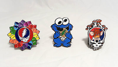Grateful Dead Lot Of 3 Pins Pinbacks Jerry Garcia Steal Your Cookie Monster