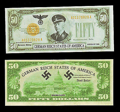 Heinrich Himmler, German Reich States of America Unissued Fifty Dollars in Gold