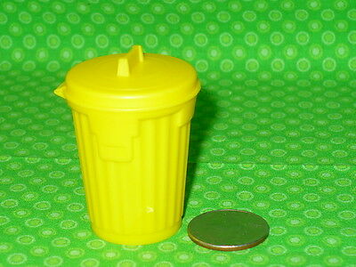 """Vintage TOPPS Chewing Gum YELLOW TRASH CAN Trashcan CONTAINER 1.75"""" tall"""