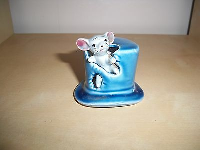 MOUSE in a Blue Top Hat - Ceramic / Pottery Ornament Figurine