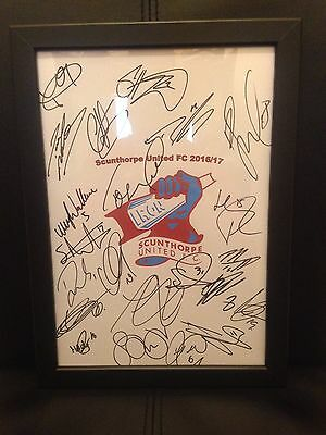 Scunthorpe United FC X22 NEW 2016/17Hand Signed Framed A4 Autograph Sheet
