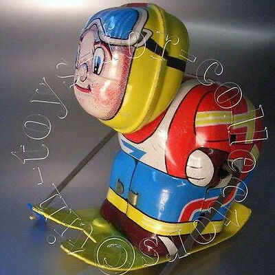 Skifahrer Hiro Japan Ca.1950 Sehr Seltenes Character Toy Blech Lithograhiert