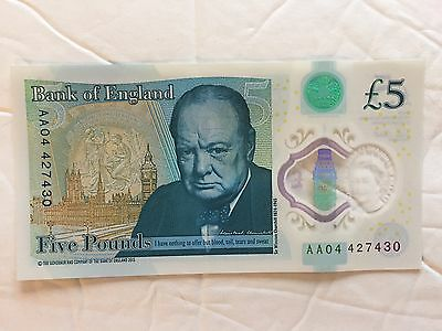 New RARE 5 Pounds Note AA 04 - US Seller