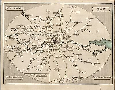1790 JOHN CARY old LONDON ROADS antique maps TREASURE HUNTING towns villages B10