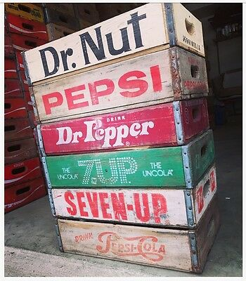 6 Vintage Wood Soda Pop Crates Dr Pepper Dr Nut Coke Pepsi & 7up Lot