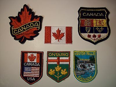 VINTAGE LOT OF 6 CANADA EMBROIDERED PATCHES Ontario NESTOR FALLS CANADIAN FLAG