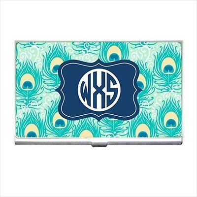 Personalized Peacock Pattern Business Card Holder - Custom Monogram Gifts