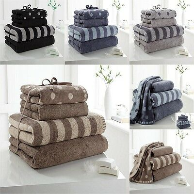 100% Cotton Towel Bale Set Polka Dot Stripe 4Pc Hand and Bath Luxury Towels Pack