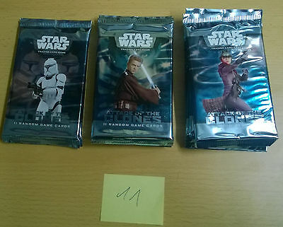 Star Wars Attack of the Clones TCG Lot of 11 Booster Packs (Mint, Sealed)