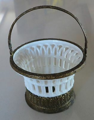 Beautiful Antique Roesler Reticulated Porcelain Ceramic Basket with Ormolu