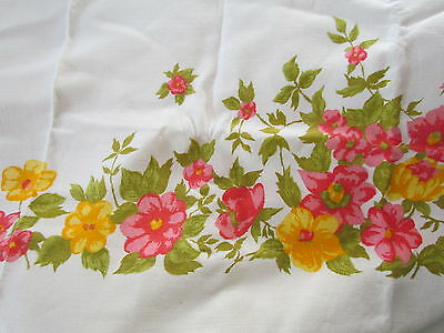 Tablecloth Vintage 50th Printed Floral Abstract Collectible Heavy Linen rare