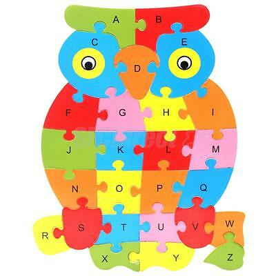 Kids Baby Wooden Owl Animal Puzzle Alphabet Jigsaw Learning Educational Toy