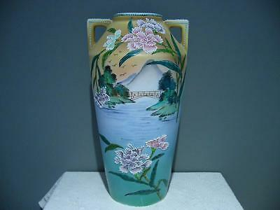 Vintage Hand Painted Royal Nippon Nishiki Vase With Moriage Decoration - Cg