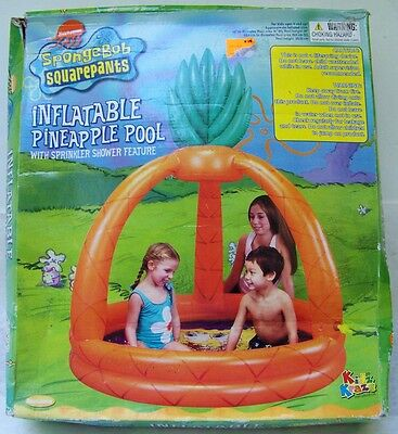 NIB SPONGEBOB SQUAREPANTS inflatable child's PINEAPPLE POOL w sprinkler shower