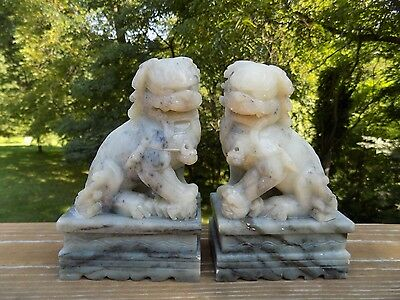 """Antique Pair of Finely Carved Ornate Soapstone Foo Dog Lion Carving Bookends 6"""""""