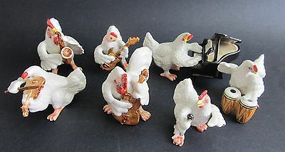 Miniature Ceramic White Rooster or Cockerel Musical Concert Band 8 Pieces