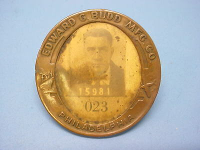 "Factory Employee Badge Pin ""edward G Budd"" Father Of The Railroad Streamliners"