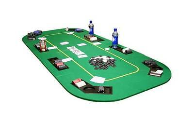 Texas Hold'em Folding Table Top w Cup Holders in Green [ID 59225]