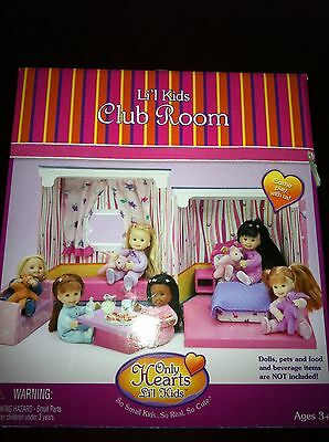 **Only Hearts ~  Li'l Kids Sleepover Club Room Play House New In Box**
