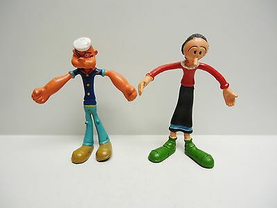 Vintage - Popeye and Olive Oyl Bendable Figurines - MADE IN HONG KONG