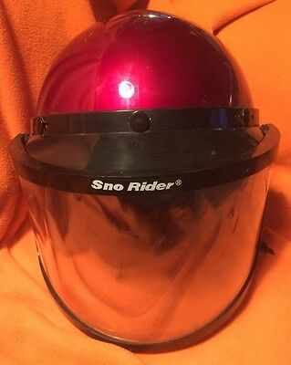 Vintage Red Helmet Sz XLarge Motorcycle  Snowmobile w Sno Rider Face mask USA