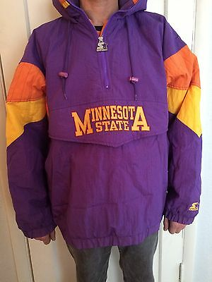 Minnesota State Screaming Eagles Vintage Starter Pull Over hooded Coat Coach  XL