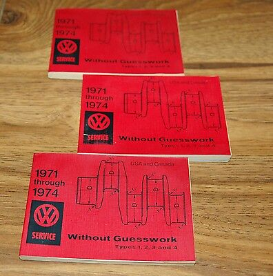 VW Volkswagen type 1 2 3 4 1971 to 1974 without guesswork service manual