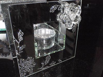 Mirror Glass Floral Bouquet Single T Light Holder. VALENTINE'S /MOTHER'S DAY