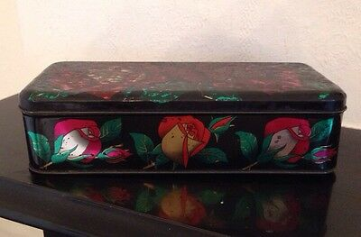 Vintage Tin Hinged Lid/Black/Roses/Storage/Box/Container/Burtons Biscuits