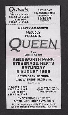 QUEEN  :  Knebworth 1986 Magic Tour Ticket - Final Concert - Complete with Stub