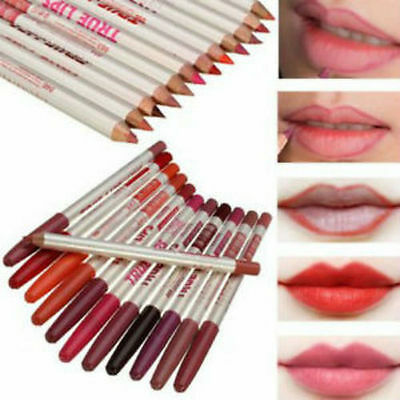 New 12 Colours-Set-True Makeup Lips-Lip-Liner-Pencil-Face Cosmetic-Eyeliner BNIB