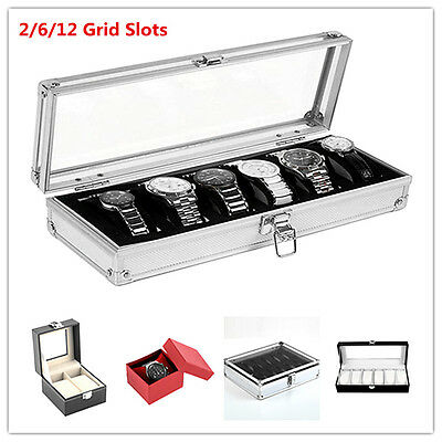 2/6/12 Grid Slots Wrist Watches Gift Case Jewelry Display Box Storage Holde Lot