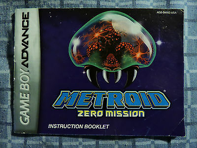 Metroid Zero Mission MANUAL ONLY USA version GBA Gameboy Game Boy Advance