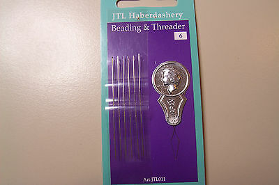 Pack of 6 Beading Needles & Threader By JTL Haberdashery