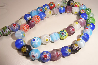 40 8mm Round Millefiori Single Flower Glass Beads Mixed Colours Assorted