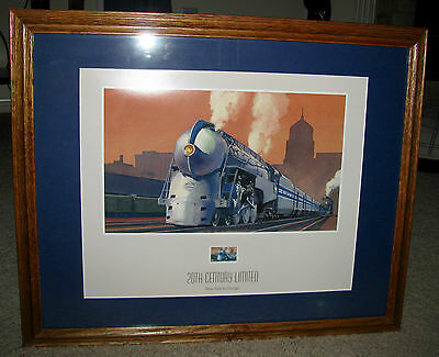 """Print """"20th Century Limited"""" Train Picture & Postage Stamp """"All Aboard"""" Ted Rose"""