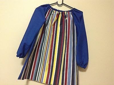 Kids stripes Handmade Art Smock  8-10 With Thermal Backing For Extra Protection