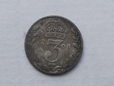 1908 Silver 3d Threepence Thruppence King Edward VII Good