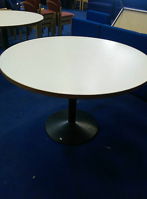 Round White office meeting table 1200mm with Heavy metal base