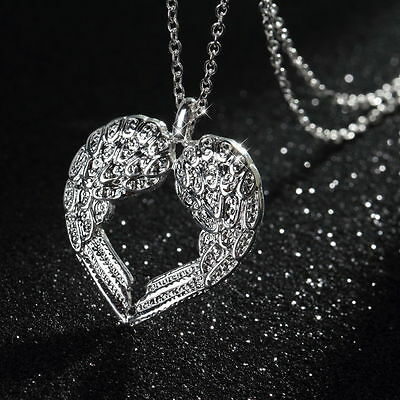 Elegant 925 Sterling Silver Solid Angel Wing Heart Chain Woman Necklace  YQJV