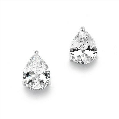 Natural  0.75ct Pear Shaped Diamond Stud Earring in 18k White Gold.