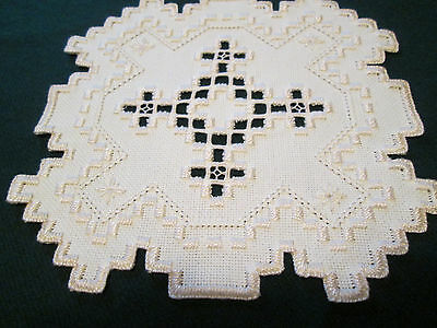 Hardanger  Doily Norwegian Embroidery Ivory with Ivory -  Hand Made
