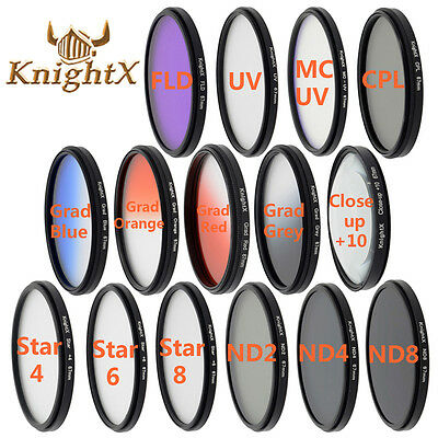 KnightX FLD UV CPL Star nd filter For nikon canon 49mm 52mm 55mm 58mm 67mm 77mm